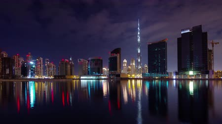 birleşik arap emirlikleri : night illumination dubai downtown water panorama 4k time lapse uae