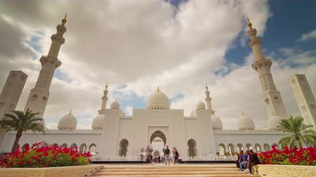 эмираты : abu dhabi sky run world famous mosque panorama 4k time lapse uae