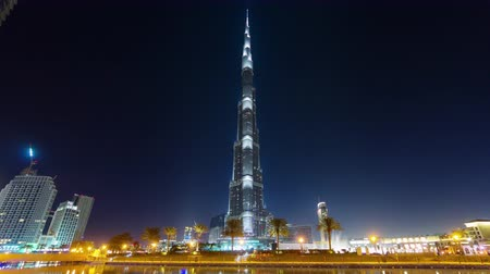 эмираты : dubai night illumination world tallest building bay panorama 4k time lapse uae
