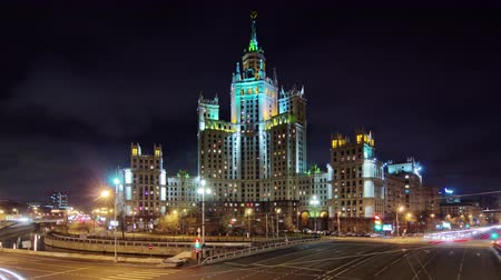 moscow night : night light famous moscow seven sisters building 4k time lapse russia