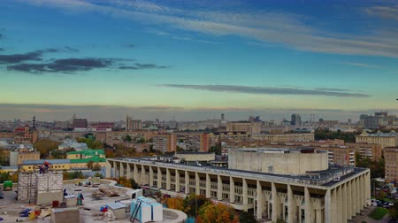 moscow panorama : moscow city sunset roof top panorama construction 4k time lapse russia