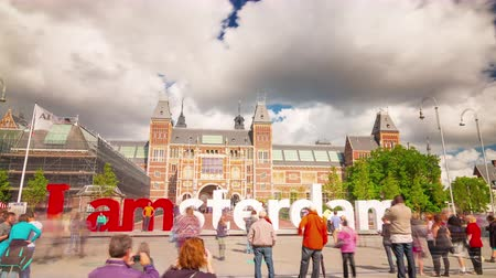 muzeum : amsterdam city symbol national museum front 4k time lapse netherlands