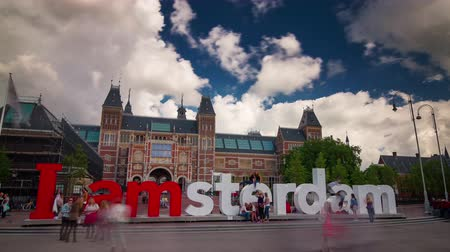 музей : amsterdam monument dutch national museum 4k time lapse netherlands