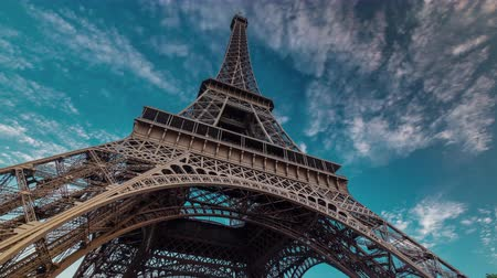 башни : sunset twilight eiffel tower blue sky down to top paris 4k time lapse france