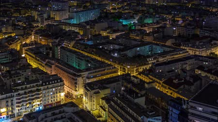panoramic view : night illumination paris living block roof top panorama 4k time lapse france