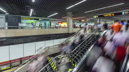shanghai city subway crowded escalator stair panorama 4k time lapse china