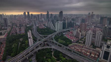 shanghai sunset storm sky road junction city panorama 4k time lapse china Стоковые видеозаписи
