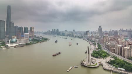 day shanghai city bay river traffic roof top panorama 4k time lapse china