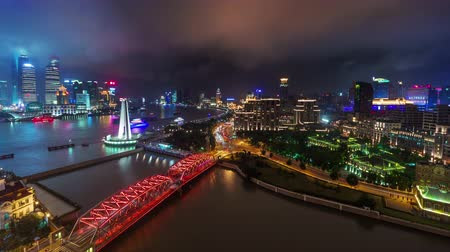 shanghai night downtown river bay roof top panorama 4k time lapse china Стоковые видеозаписи