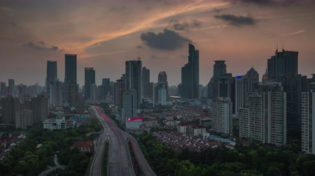 junção : shanghai sunset road roof top panorama 4k time lapse 4k time lapse china Vídeos