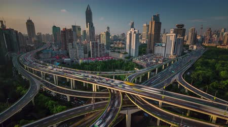 shanghai city traffic road junction roof top panorama 4k time lapse china
