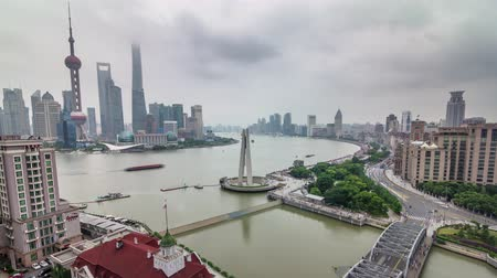 shanghai roof top aerial river bay rainy day panorama 4k time lapse china Стоковые видеозаписи