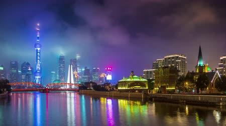 night sky shanghai river bay downtown panorama 4k time lapse china Стоковые видеозаписи
