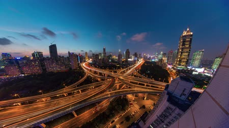 night shanghai traffic road junction roof top panorama 4k time lapse china