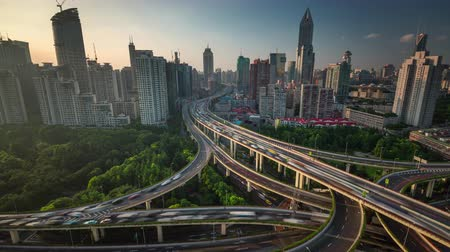sunset traffic road junction shanghai roof top panorama 4k time lapse china