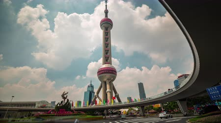shanghai most building oriental pearl tower traffic square 4k time lapse china