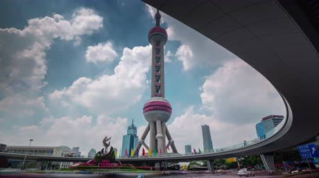 summer day shanghai city tower square panorama 4k time lapse china