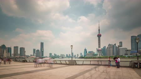 shanghai scape day light river bay downtown panorama 4k time lapse china Стоковые видеозаписи