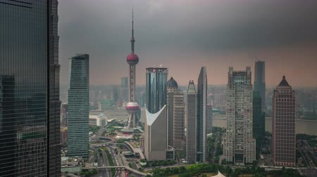 shanghai downtown buildings roof top panorama 4k time lapse china