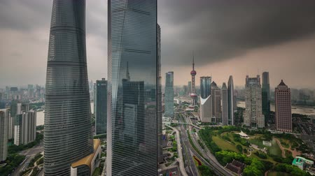 shanghai traffic road storm sky buildings panorama 4k time lapse china