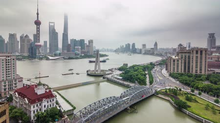 shanghai rainy day aerial river bay traffic river panorama 4k time lapse china