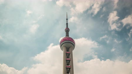 shanghai day oriental pearl tower top sky panorama 4k time lapse china Стоковые видеозаписи