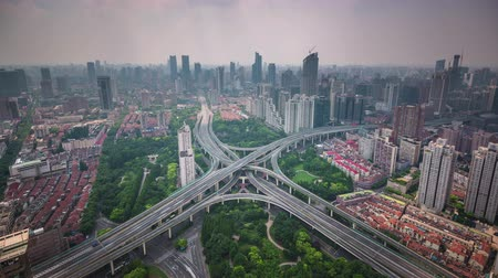 shanghai cityscape traffic road junction roof top panorama 4k time lapse china