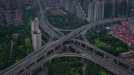 day shanghai city traffic road junction roof top panorama 4k time lapse china Стоковые видеозаписи