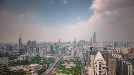 day shanghai cityscape traffic street roof top panorama 4k time lapse china