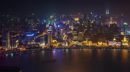 точка зрения : night light shanghai old city bay roof top aerial panorama 4k time lapse china