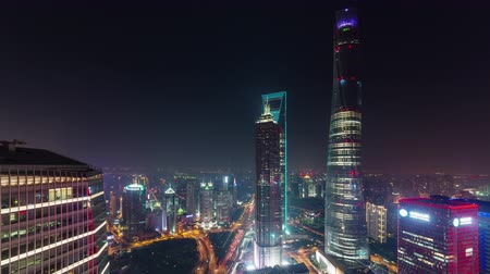 night cityscape shanghai downtown roof top panorama 4k time lapse china