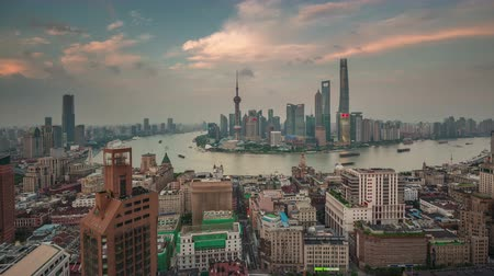 gyöngyszem : sunset shanghai cityscape bay roof top panorama 4k time lapse china