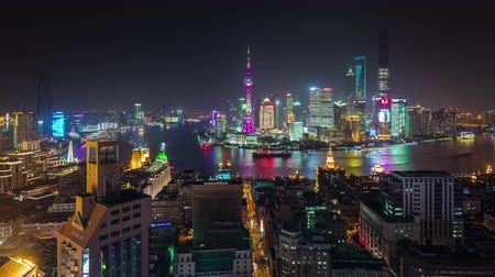 night shanghai city roof top cityscape panorama 4k time lapse china