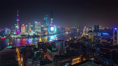 shanghai night cityscape river bay roof top panorama 4k time lapse china Стоковые видеозаписи