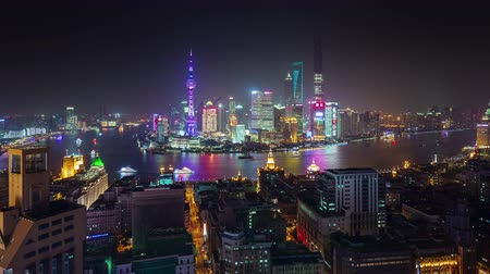 shanghai roof top river bay cityscape panorama 4k time lapse china Стоковые видеозаписи