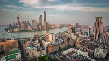 sunset shanghai bay roof top aerial panorama 4k time lapse china
