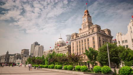 shanghai city day light customs house panorama 4k time lapse china