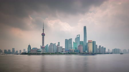 day shanghai downtown river traffic bay panorama 4k time lapse china Стоковые видеозаписи
