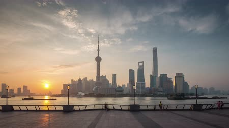 sunset shanghai city river bay downtown view panorama 4k time lapse china Стоковые видеозаписи