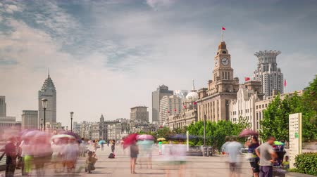 day shanghai city bay customs house walk  panorama 4k time lapse china