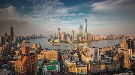 shanghai roof top cityscape bay sunset panorama 4k time lapse china