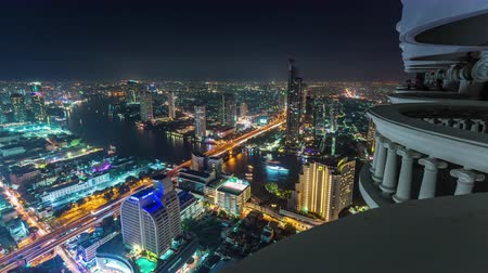 tajlandia : bangkok night light hotel roof top cityscape panorama 4k time lapse thailand Wideo