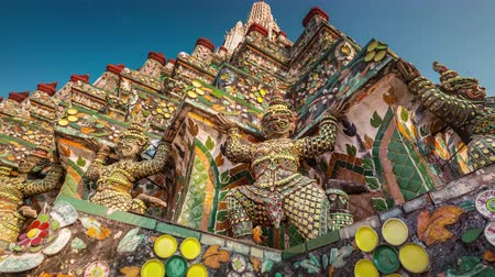 határkő : colored details of bangkok famous temple decoration 4k time lapse thailand