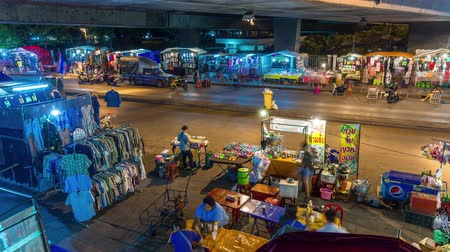 kaew : night light traffic road bangkok street market 4k time lapse thailand