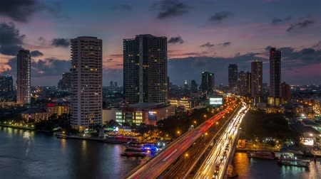 sunset city : sunset bangkok river traffic bridge roof top panorama 4k time lapse thailand