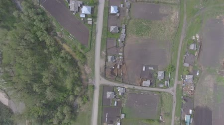Panorama aerial view shot on cottage village, suburb, village, above