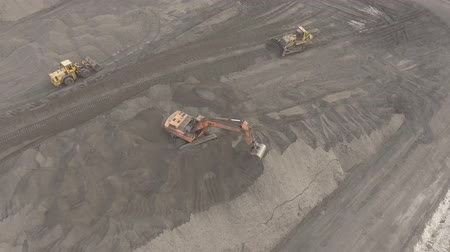 Panorama aerial view shot UHD 4K, open pit mine, breed sorting, mining coal, extractive industry