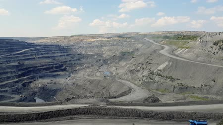 Panorama of the coal mine. View of the quarry, Panning pit in the ground, Aerial view