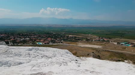 Panorama view from above on Pamukkale . Aerial view of Hierapolis Ancient Greco-Roman city in Turkey Dostupné videozáznamy