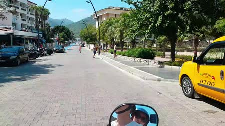 Hyperlapse street in Marmaris, Turkey. Resort city, sunny day. Tourists walk. Timelapse